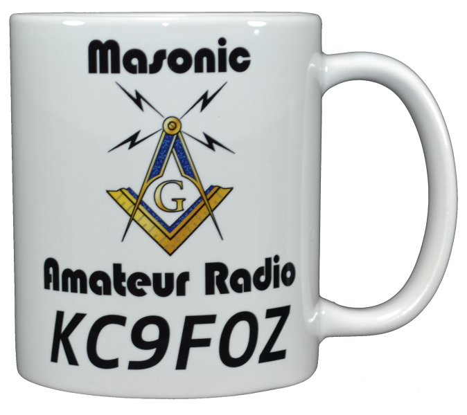 Ham Amateur Radio Masonic Mug With Call.